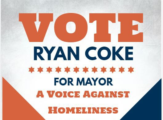 Ryan Coke runs for mayor on platform of ending homeliness and making Portage beautiful again.