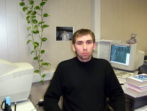 Sean Neudorf is going to be employee of the month here he sits at his work station